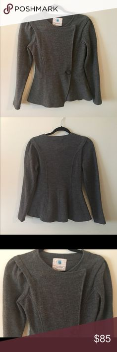 Sparrow Merino Wool Sweater Jacket Super cute Sparrow Merino Wool Sweater Jacket from Anthro! Wrap style with peplum back. Great condition! Size small. No trades Anthropologie Sweaters