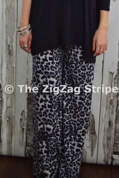 Grey Go Wild Palazzos – The ZigZag Stripe. Use coupon code ZZS72 to save 10% on every order, and shipping is free! zigzagstripe.com
