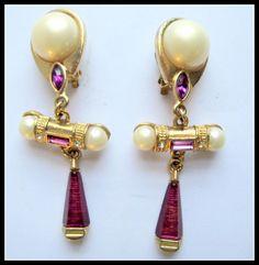 Fabulous Vintage Runway Style Earrings Faux Pearl  Ruby Glass & Rhinestones