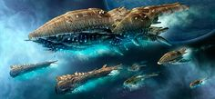 Amoeba fleet Spaceship Art, Spaceship Design, Spaceship Concept, A Level Art Sketchbook, Space Opera, Alien Ship, Sci Fi Spaceships, Concept Art Tutorial, Sci Fi Ships