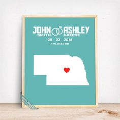 NEBRASKA CUSTOMIZED WEDDING MAP PRINT by Voca Prints! Modern customized wedding map poster with 42 background color choices. Great gift for anniversary and wedding.