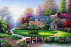 P024 rinted thomas kinkade landscape oil painting prints on canvas wall art picture for living room home decorations 60x40cm $12.00