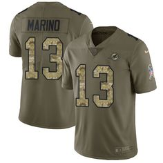 Nike Dolphins #13 Dan Marino Olive/Camo Men's Stitched NFL Limited 2017  Salute To