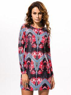 Vintage Women Long Sleeve Printing High Elastic O-Neck Mini Dresses