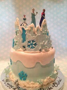 Frozen Cake❄ Www.facebook.com/finishingtouchesbyliz   #finishingtouchesbyliz #cake #Frozen #elsa #anna #snowflake