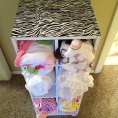 Turned a shoe holder into a blanket holder for the babies room. Also mod podged zebra paper on top! Zebra Nursery, Baby Zebra, Baby Girl Room Decor, Baby Room, Blanket Holder, Shoe Holders, Bitty Baby, Diy Arts And Crafts, Future Baby