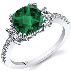 14K White Gold Created Emerald Ring Cushion Checkerboard Cut 2.00 Carats Size 6