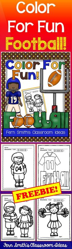 Football Fun! Color For Fun Printable Coloring Pages Four Pages of a Football…