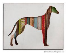 Greyhound Whippet Silhouette Custom Dog Portrait