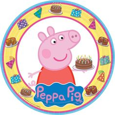 These cute dinner plates are perfect for your child's Peppa Pig birthday party! Add these paper plates to your party supplies and Peppa Pig party . Peppa Pig Party Supplies, Kids Party Supplies, Peppa Pig Lunch, Familia Peppa Pig, Yellow Birthday Parties, Cumple Peppa Pig, Pig Birthday, Birthday Treats, Birthday Board