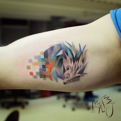 Animal #tattoos obscured with colorful glitches by Lesha Lauz.