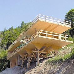 The online Architecture Exhibition Online Architecture, Timber Architecture, Timber Buildings, Contemporary Architecture, Architecture Design, Houses On Slopes, Hillside House, House On Stilts, Timber Structure