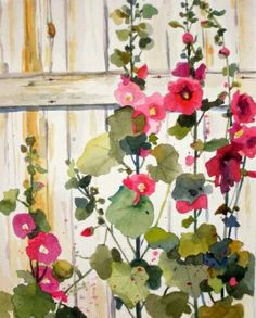 watercolor hollyhocks painting