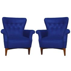 Stunning Pair of Blue Danish Lounge Chairs | From a unique collection of antique and modern armchairs at https://www.1stdibs.com/furniture/seating/armchairs/