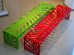 Our red and green Organic leaf bench – ordered by Planpart Landscape Architects in Cape Town.  Project : Ashton Park Development in Cape Town, Western Cape