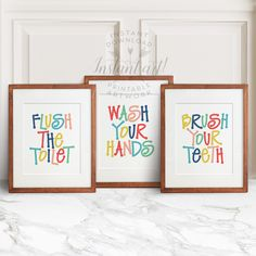 Kids bathroom art - 3 PRINTABLES: flush the toilet,wash your hands,brush your teeth,colorful bathroom wall decor,printable bathroom art, by TheCrownPrints on Etsy https://www.etsy.com/listing/265036042/kids-bathroom-art-3-printables-flush-the