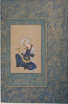 Portrait of a Youth Date: late 16th century Geography: Iran Medium: Opaque watercolor and gold on paper Dimensions: H. 11 5/8 in. (29. 5 cm) W. 7 9/16 in. (19.2 cm) Metropolitan Museum of Art 55.121.24
