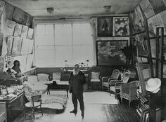 Claude Monet in his atelier in Giverny, 1920.