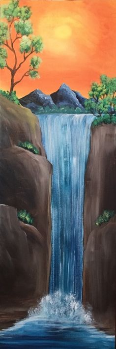 Painting idea with good composition and depth perspective. Waterfall, cliffs, mountain, trees and sunset. Please also visit www.JustForYouPropheticArt.com for more colorful art you might like to pin. Thanks for looking!