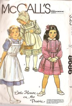 Little House on Prairie Dress Pinafore MCalls 8686 size 7 children Girls sewing pattern VINTAGE. $4.65, via Etsy.