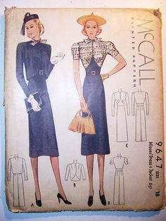McCall 9647 | 1930s Misses' Dress and Jacket