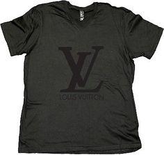 Louis Vuitton Shirt,Men Black V Neck Black Logo, Custom logo design