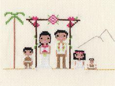 Large Wedding Custom Pixel Cross Stitch Portrait por ScarletPyjamas