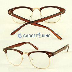 Damen Herren Brille Halbrahmen Kamelbraun/Braun Geek Retro Modisch Vintage
