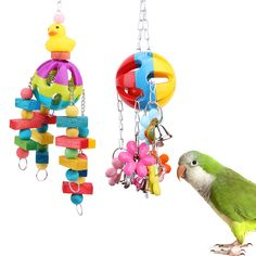 Newest Acrylic Bird Toys Colorful Pet Parrot Macaw  Chew Toys Pets Birds Cage Hanging Bait Toys With Bells 2 Styles