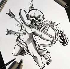 Cupid Tattoo, 16 Tattoo, Cherub Tattoo, Full Tattoo, Tattoo Art, Skull Tattoo Design, Tattoo Design Drawings, Tattoo Sketches, Gotik Tattoo