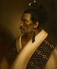 """Portrait of Maori man Kamariera Te Hau Takiri Wharepapa"" Gottfried Lindauer. Polynesian People, Polynesian Art, Polynesian Culture, Polynesian Tattoos, Maori Face Tattoo, Ta Moko Tattoo, Maori Tattoos, Key Tattoos, Face Tattoos"