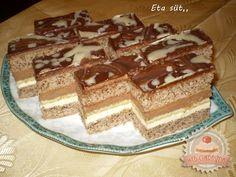 Csokis tejszínes szelet Hungarian Desserts, Hungarian Recipes, Cake Bars, My Recipes, Nutella, Tiramisu, Waffles, Food And Drink, Ale