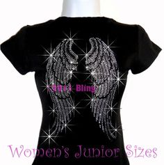 Large+Angel+Wings++Iron+on+Rhinestone+TShirt+by+BlingtasticApparel,+$18.99