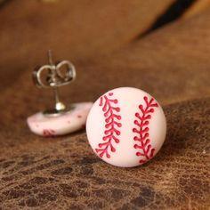 Miniature Baseball Stud Earrings Ball Park Ear by dirtroadsouth Baseball Nails, Baseball Jewelry, Baseball Crafts, Baseball Gear, Tigers Baseball, Baseball Season, Baseball Mom, Baseball Field, Baseball Clothes