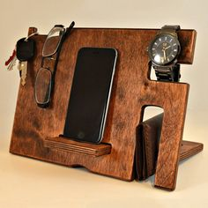 Hand Crafted Wood Phone Docking Station #dockingstation, #elegant, #stylish, #wood