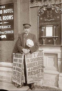 Newspaper seller, London c 1917