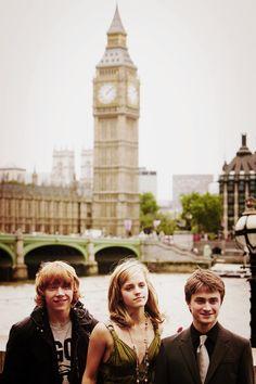 Rupert Grint, Emma Watson, and Daniel Radcliffe
