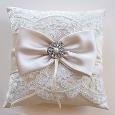 Wedding Ring Pillow in Champagne Satin with Beaded Ivory