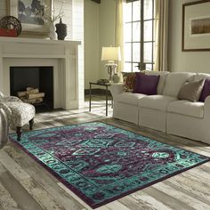 Maples Rugs Jenny Teal Area Rug #MaplesRugs