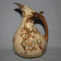 Royal Worcester Blush Ivory hand painted tear drop bulbous jug - Royal Worcester Blush Ivory
