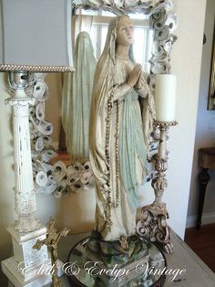 Vintage Our Lady of Lourdes Statue 29 Tall by edithandevelyn on Etsy