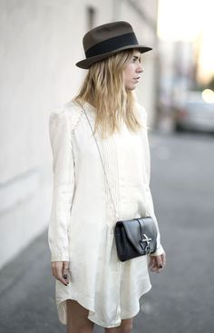 ivory tuxedo dress and a chic black hat