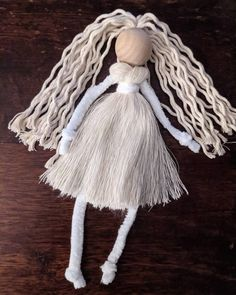 Handmade Macrame Doll   Etsy Victorian Angels, Yarn Dolls, Macrame Design, A Hook, Macrame Projects, Boy Doll, Cotton Rope, Projects To Try, Winter Hats
