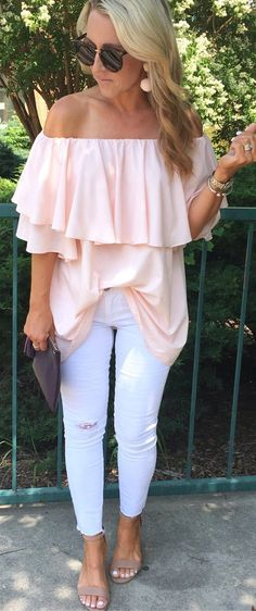 #Fashion Summer Style : #summer #outfits I Mean...does It Get Any Better Than An Oversized Pink Ruffle O...