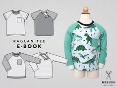 SALE! Raglan Tee PDF Sewing Pattern & Tutorial, shoulder closure, chest pocket, boys, girls, babies, toddler, kids, long or short sleeves