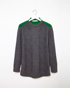 Sacai Luck | Colorblocked Cable-Knit Sweater | La Garçonne