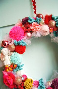 christmas wreaths in candy colors... @Gabby Fekete  I like the idea of a wreath! clearly this is more you than me... but it's cute huh?!