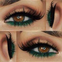 Green and Brown Eyeshadows on Brown Eyes