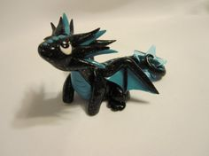 Handcrafted Sparkle Black Polymer Clay Dragon by TheDragonNest, $36.95