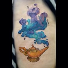 disney watercolor tattoo - Aladdin on the ankle.
